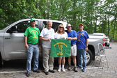 Here is the photo of the team that activated Indian Island (Stone Mountain, GA) on Saturday, May 13.  The team made 32 contacts, worked 9 states, 3  DX stations.  Pictured are Terry W4YBV, Jim N4SEC, Lori K4UPI, Daryl K4RGK and Grant KK4PCR.